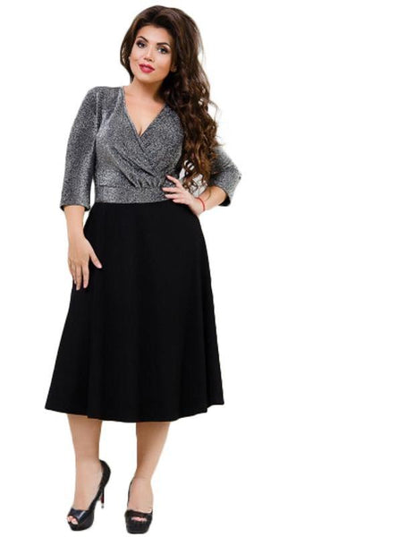 doris silver Plus Size Dress Sexy Deep V-Neck Fashion Ladies black blue metallic formal party midi - WomensPlusSizeShop dress