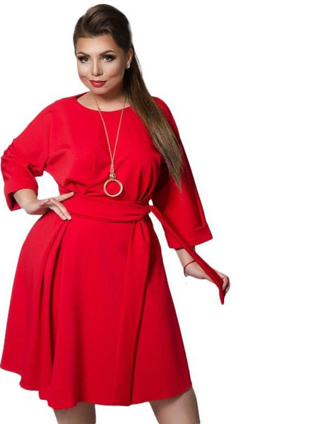 keri Plus Size Dress Casual Long Sleeve Female Women Clothing navy Blue red green - WomensPlusSizeShop dress