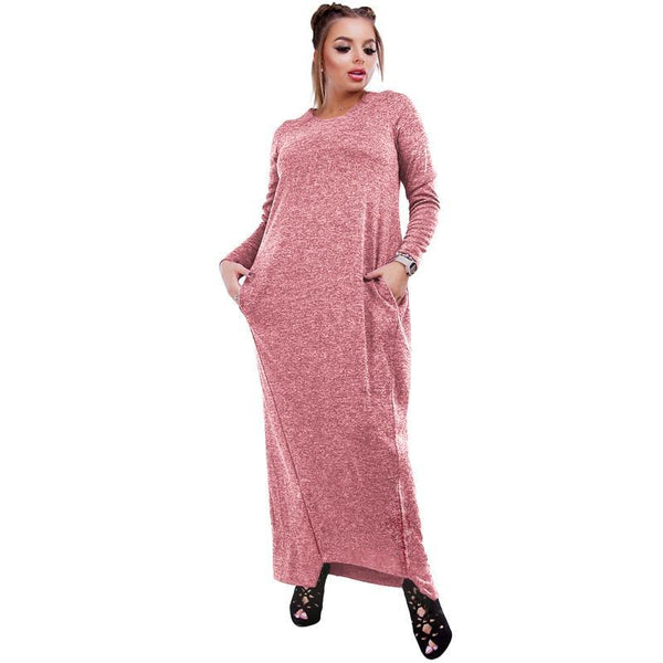 slacker comfortable Plus Size long Sleeve Maxi dress Winter Autumn Warm Long Fashion Casual Blue pink pastel - WomensPlusSizeShop dress