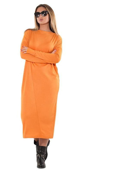 comfortable Plus Size Maxi Dress Long Dress Casual Loose Office Female Women Clothing orange - WomensPlusSizeShop dress