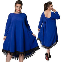marla Plus Size Dress Lace Women Loose Female Blue black red pastel purple trapeze midi - WomensPlusSizeShop dress