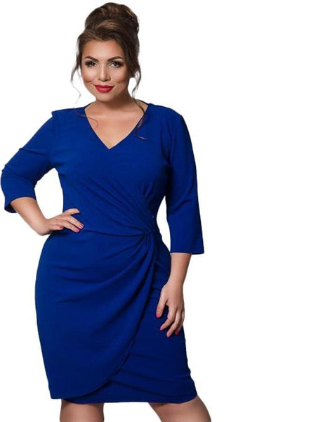 michelle Plus Size Dress Fashion Female wrap tulip short Deep V-Neck blue - WomensPlusSizeShop dress