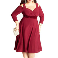 vergara plus size Dress Casual party off the cold shoulder Women Clothing Sexy V-Neck red - WomensPlusSizeShop dress