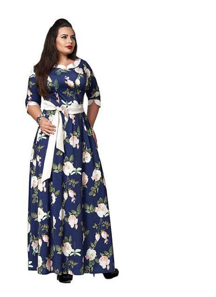 flora Boho plus size Women Maxi Dress Fashionable Bohemian Vintage Long floral flowers navy blue green - WomensPlusSizeShop dress