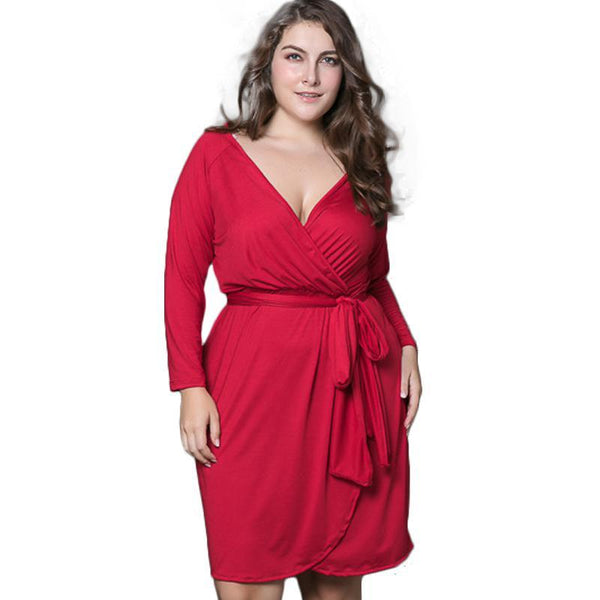lillith Sexy Red Plus Size Dress Women Summer Solid wrap V-Neck Casual - WomensPlusSizeShop dress