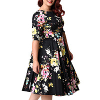 floral doris rockabilly swing plus size dress - WomensPlusSizeShop dress