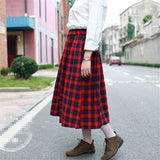 brodie Plus Size Long Skirt Women Autumn Winter Wool Maxi Tartan Plaid Print Skater red green preppy - WomensPlusSizeShop bottoms