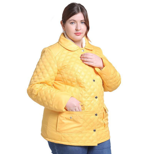 della Plus Size Womens winter Jacket Yellow Ladies Parka coat - WomensPlusSizeShop coat