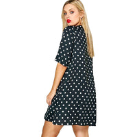jazzy Plus Size Dress Choker polka Dot Print cut Out Chiffon Dress Women Casual Loose Above Knee short Sleeve Cute - WomensPlusSizeShop dress