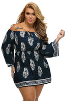 boho bardot Navy Blue Plus Size Mini Dress - WomensPlusSizeShop dress