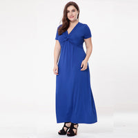 kendra Deep V-Neck Plus Size Maxi Dress Short Sleeve Long - WomensPlusSizeShop dress