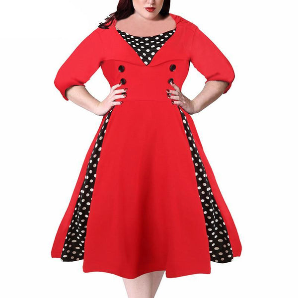 merman Plus Size Dress Midi Swing rockabilly