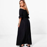 Plus Size Dress hipster bardot peasant maxi black white long - WomensPlusSizeShop dress