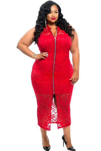 cardi Plus Size Sexy dress Sheer Lace Sleeveless Zipper Front Mid-Calf midi in Red/Black - WomensPlusSizeShop dress