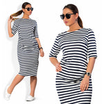 edie plus Size Stripes midi Dress Women Casual Fashion Summer Mid-Calf knee Length Black White bodycon - WomensPlusSizeShop dress