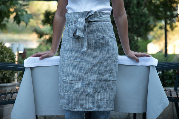Gray Linen cafe apron - Unisex linen cafe apron -Stone washed linen half apron-Midi Linen apron with 2 front pockets. - one size - #Dimitra#