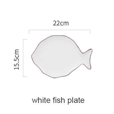 Ocean Style Ceramic Plate Whale Fish Porcelain Dinnerware