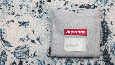 fake grey supreme box logo hoodie