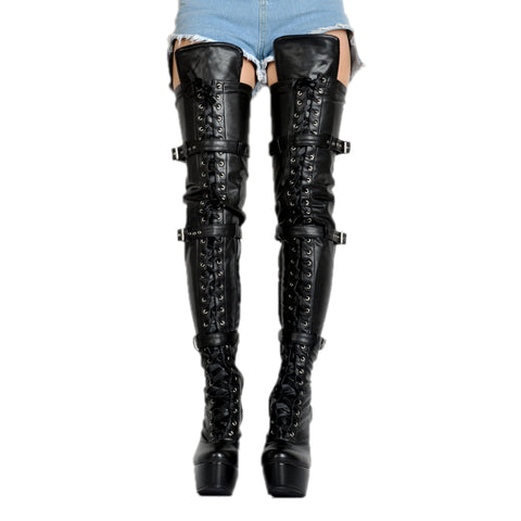 leather strap thigh high boots