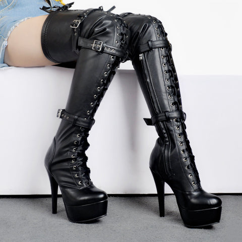 thigh high strap boots
