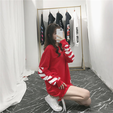fake off white crewneck red