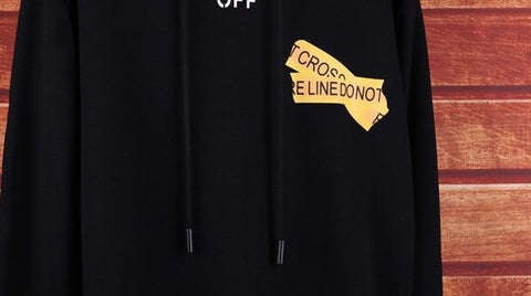 fake offwhite fire tape hoodie replica