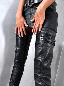 Double Straps Stiletto Heel Thigh High Boots - FashionsRep