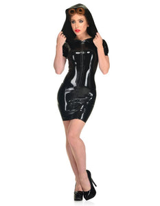 Sexy Night Club Hood PVC Glossy Dress - FashionsRep