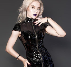 Sexy Night Club PVC Glossy Mesh Dress - FashionsRep