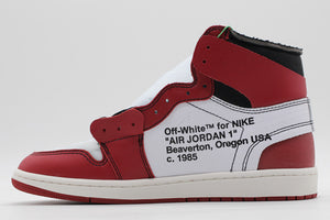OW Air Jordan 1 White Black Varsity Red - FashionsRep