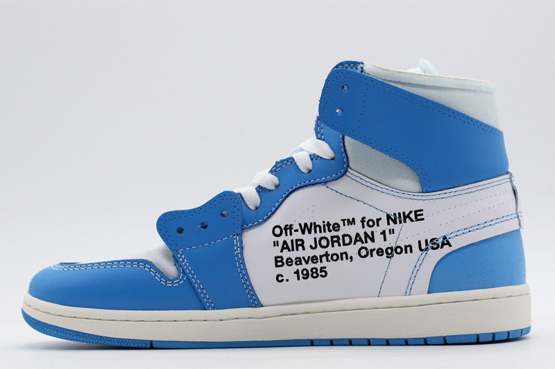 new product 52f1c 21598 OW Air Jordan 1 Retro UNC Blue White