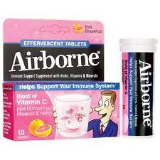 Airborne Original Pink Grapefruit Effervescent Tablets Cold and Flu Mountainside-Healthcare.com Airborne, cold and flu season, immune system booster, Vitamin C