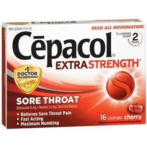 Cepacol Extra Strength Cherry Lozenges Sore Throat Relief Mountainside-Healthcare.com cepacol, cough drops, lozenges, sore throat