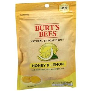 Burt's Bees Natural Throat Drops, Honey & Lemon Cough Drops Mountainside-Healthcare.com Burt's Bees, cough drops, honey, sore throat