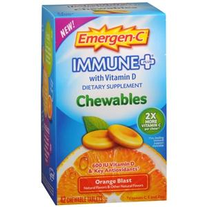 Emergen-C Immune+ Chewables, Orange Blast Immune System Support Mountainside-Healthcare.com chewable vitamin, Emergen-C, immune system support, Vitamin C