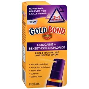 Gold Bond Pain & Itch Relief Antiseptic Spray 3-in-1 Formula First Aid Antiseptic Mountainside-Healthcare.com antiseptic spray, Gold Bond, Gold Bond Medicated, itch relief, lidocaine, lidocaine spray