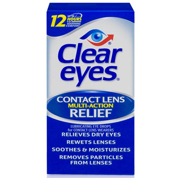 Clear Eyes Contact Lens Multi-Action Relief Eye Drops Lubricating Eye Drops Mountainside-Healthcare.com Clear Eyes, Contact Len Solution, Contact Lens Eye Drops