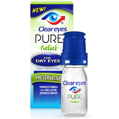Clear Eyes Pure Relief Eye Drops 0.34 oz Dry Eye Relief Drops Mountainside-Healthcare.com Boric Acid, Clear Eyes Pure Relief Eye Drops, Dry Eye Relief Drops, Glycerin 0.25%, Lubricanting Eye Drops