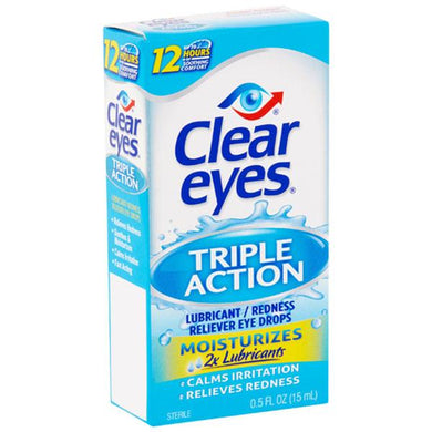 Clear Eyes Triple Action Relief Lubricating Eye Drops Lubricating Eye Drops Mountainside-Healthcare.com Clear Eyes, Eye Reddness, Lubricating Eye Drops, Moisturizing Eye Drops