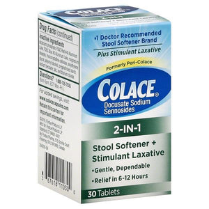 Colace 2-in-1 Tablets Stool Softener Plus Stimulant Laxative Stool Softener Laxative Mountainside-Healthcare.com Colace, Docusate Sodium, Stimulant LAXATIVE, Stool Softner