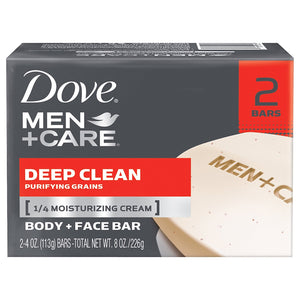 Dove Men+Care Deep Clean Body and Face Bar Soap, 2-Pack Mens Soap Mountainside-Healthcare.com Bar Soap, Deep Clean Soap, exfoliating soap, Face Wash Soap, Mens Soap, skin care