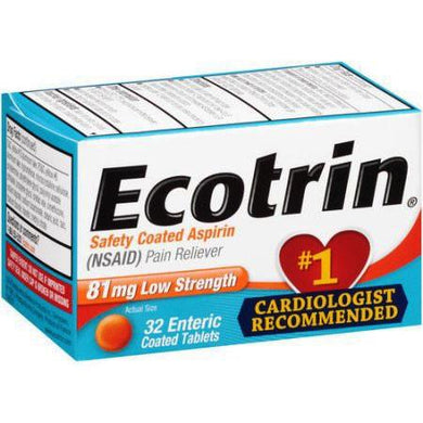 Ecotrin Low Strength Aspirin 81mg Pain Reliever Tablets, 32/Bottle Pain Reliever Mountainside-Healthcare.com Aspirin, Ecotrin, Heart Health, Low dose aspirin