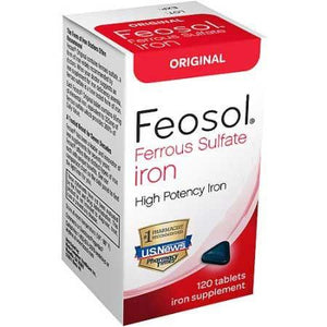 Feosol Original Ferrous Sulfate Iron Supplement Tablets, 120 count Iron Deficiency Treatment Mountainside-Healthcare.com Ferrous Sulfate, Iron Deficiency Treatment