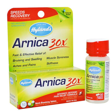 Hyland's Arnica Montana 30X Pain Relief Tablets 50/Bottle Pain Relief Medicine Mountainside-Healthcare.com Arnica 30X Pain Relief Tablets, Arnica Montana 30X HPUS, Muscle Medicine, Pain Relief Medicine, Relieve Joint Pain, Relieve Muscle Pain