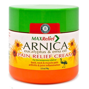 MaxRelief Pain Relief Cream with Arnica Montana, Emu Oil, Camphor, Eucalyptus Pain Relief Cream Mountainside-Healthcare.com Arnica Montana, Australian Pain Relief Cream, Camphor, Emu Oil, Eucalyptus, Maxrelief Cream, Pain Relief Cream, Reduces Inflammation, Relieve Muscle Pain