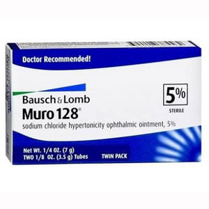 Muro 128 Sodium Chloride Ophthalmic Ointment 5% (Twin Pack) Ophthalmic Ointment Mountainside-Healthcare.com Bausch & Lomb, Muro 128, Ophthalmic Ointment, Sodium Chloride