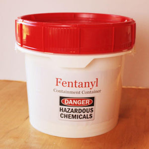 Hazardous Chemical Containment Container is a FDA compliant, durable plastic bucket with screw-top lid that seals and contains potentially hazardous chemicals and harmful drugs like Fentanyl and Heroin