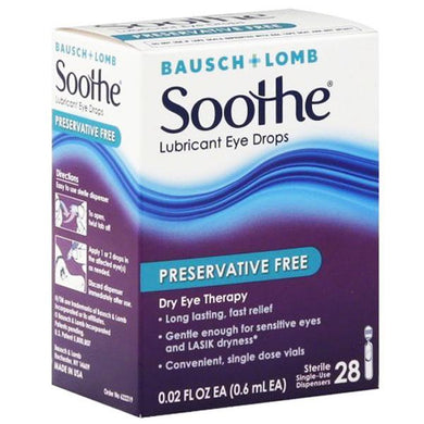 Soothe Preservative Free Lubricant Eye Drops Lubricating Eye Drops Mountainside-Healthcare.com Bausch & Lomb, Lubricating Eye Drops, Preservative Free, Propylene Glycol, Soothe Dry Skin