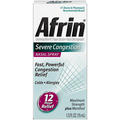 Afrin Severe Congestion Nasal Spray with Menthol, 15 ml Allergy Relief Mountainside-Healthcare.com
