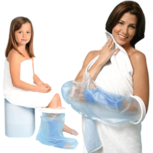 Cast Protector Shower Sleeve Bag with Rubber Gasket Knee Braces Mountainside-Healthcare.com aqua armor, arm sleeve, bathe, cast protector, cast sleeve, garbage bag, leg bag, shower, shower bag